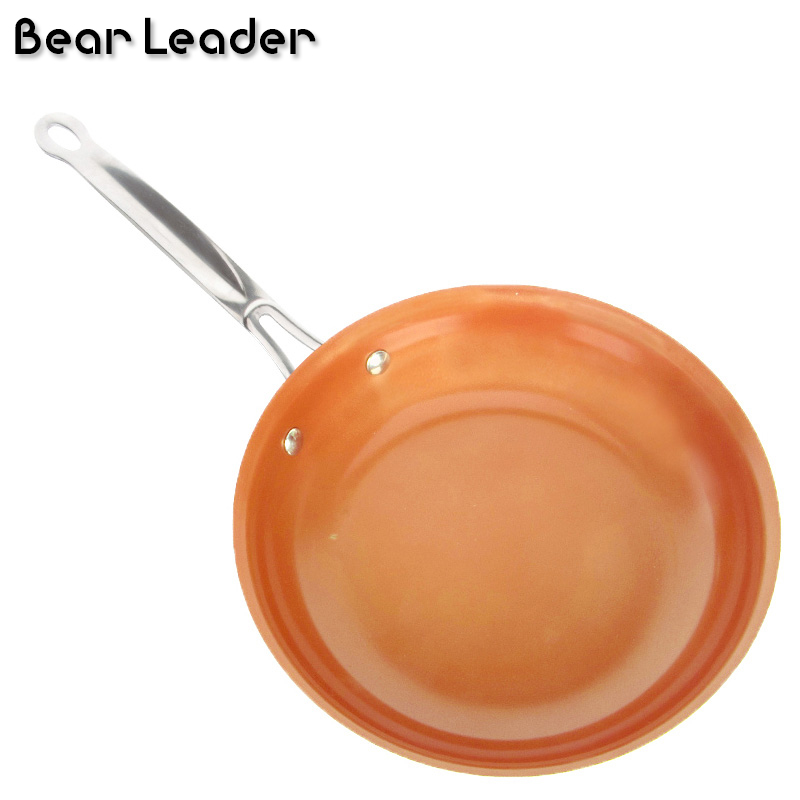 26CM Alumimum Alloy Bilayer Bottom Non Stick Copper Frying Pan Gas Stove And Induction Cooker Available Healthy Ceramic Coating in Pans from Home Garden