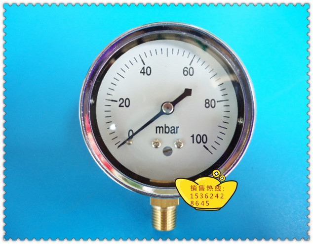 High Quality 60MM Radial 0 100mbar (MB Pressure Gauge), Gas Pressure Gauge, 1/4 Screw Tooth цена