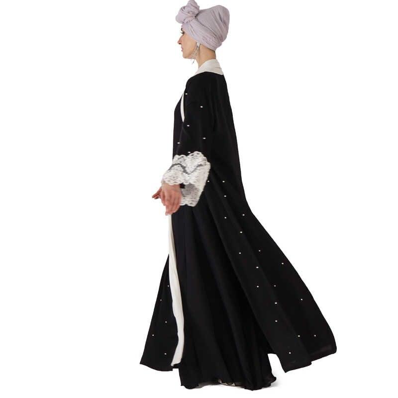 Abaya Musulmano nero Kimono Robe Dubai Turco Islam Hijab Abito Caftano Abaya Per Le Donne Caftano Marocain Jilbab Eid Ramadan Elbise