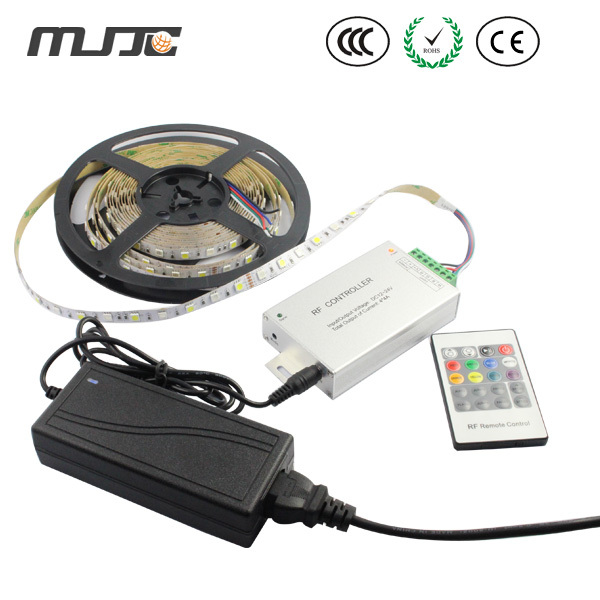MJJC 5M 300 SMD 5050 LED Flexible RGBW Strip light non Waterproof+1pc 4Channel RF led controller+1pc 72W Power Adapter 72w 3600lm 6500k 300 5050 smd led white light lamp strip w rf dimmer black white yellow 5m