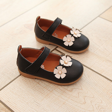 New Flower Girls Shoes 2017 Autumn Fashion Kids Shoes Leather Princess Party Casual Flat School Shoes For Children Baby Toddler