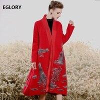 2018 модный кардиган свитера Для женщин толстый шерстяной Вязание ручная вышивка одной кнопки длинное пальто Повседневное леди пальто карди
