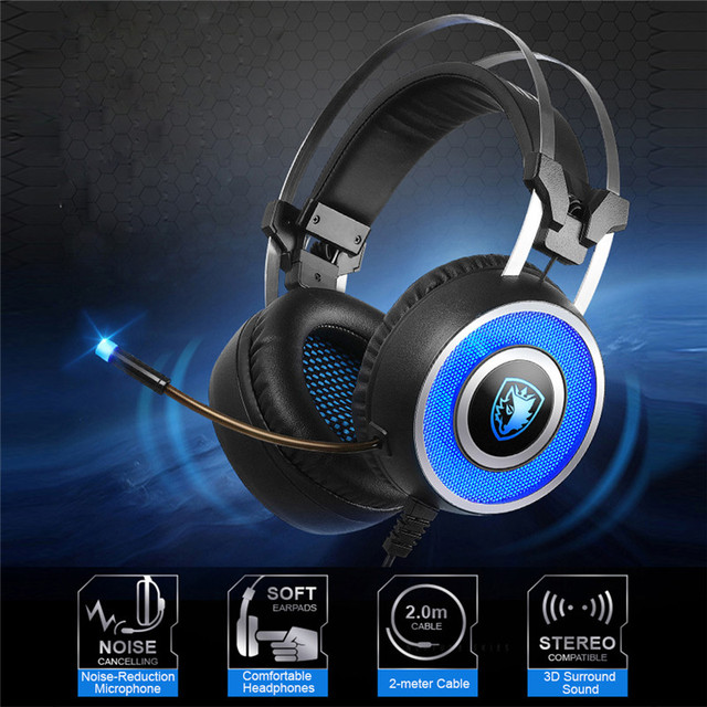 SADES A9 Auriculares Para Juegos, USB Over Ear Auriculares Para Juegos con Micrófono, 7 colores Respiración Iluminación LED, Vibración para Pc Portátil