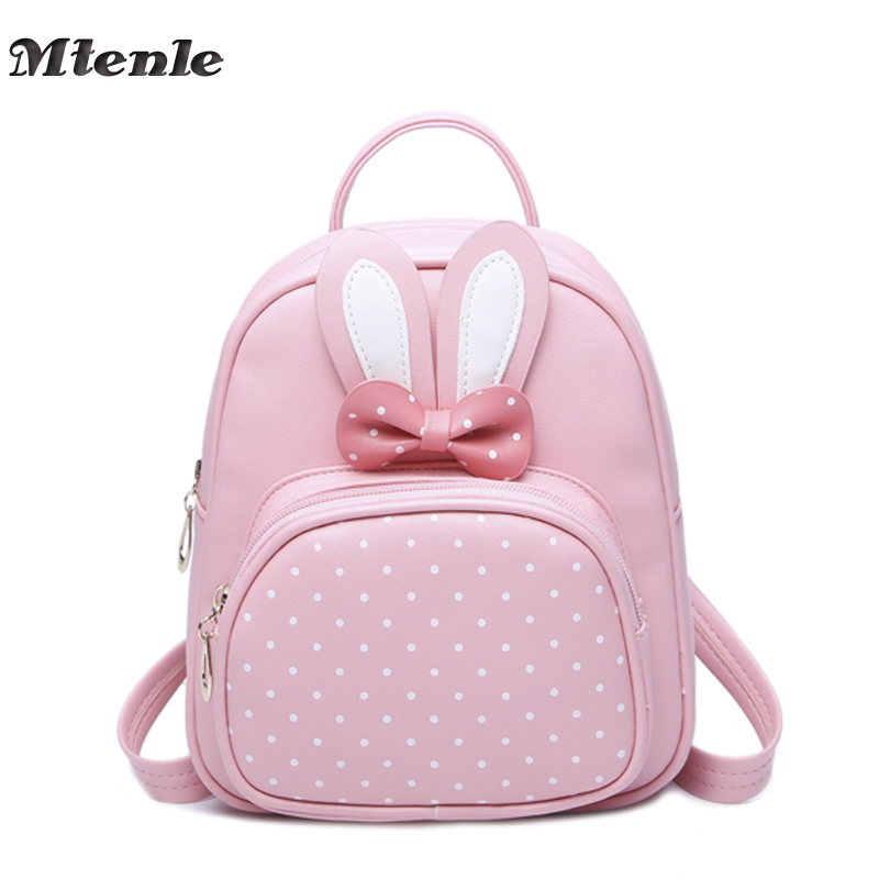 цена MTENLE Mini Small Backpacks For Teenage Girls Bunny Cute Backpack Women Leather Polka Dot Bow Back Bag Pink Mochila Feminina FI