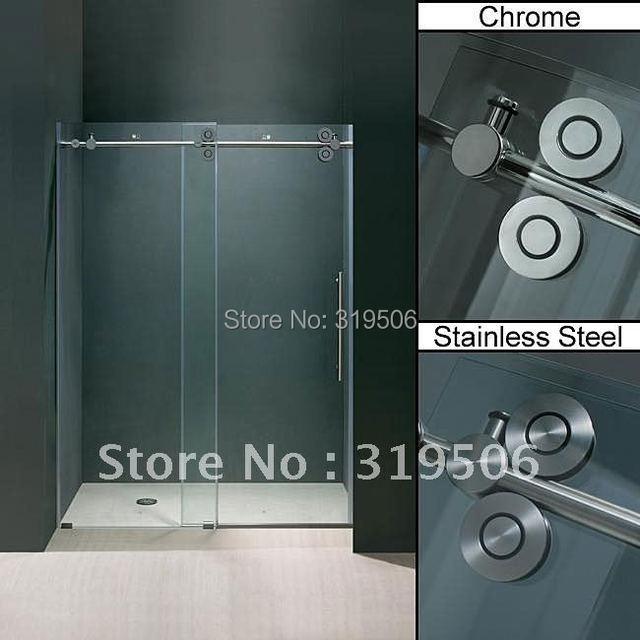 Free Shipping Frameless Sliding Glass Shower Door Full Set 304