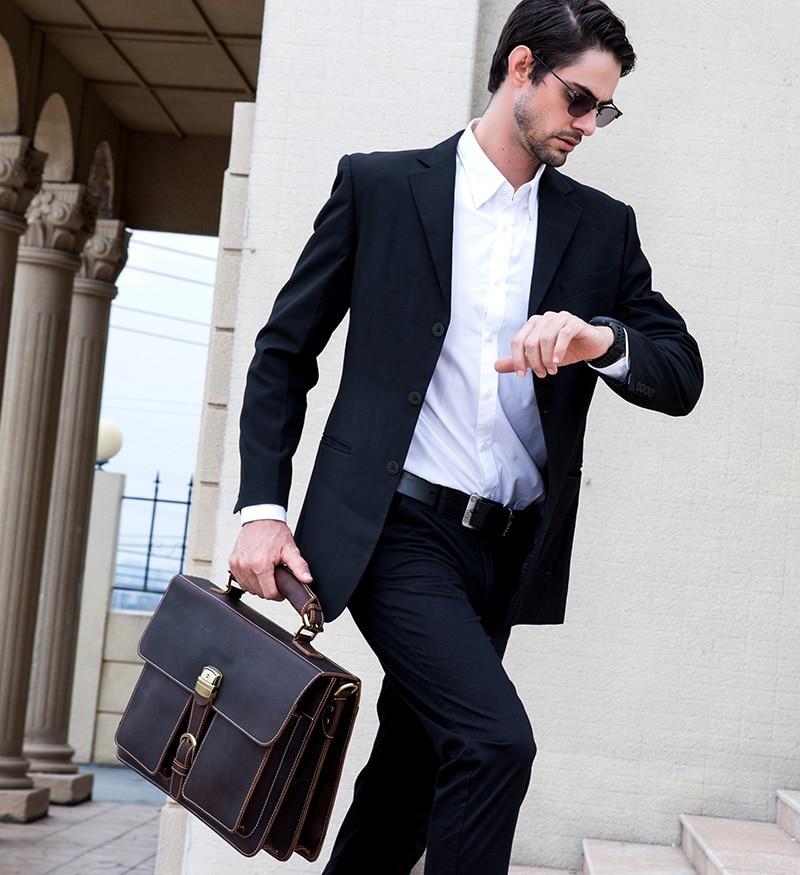 HTB1DmVVQNnaK1RjSZFBq6AW7VXah MAHEU Luxury Fashion 100% Genuine Leather Men Briefcase Cow Leather Laptop Bag Vintage Shoulder Bag Real Cowhide Computer Bag