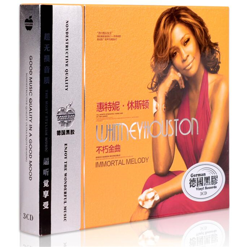 Free Shipping: Whitney Houston Songs European and American Old Songs Carrier 3CD Music Seal
