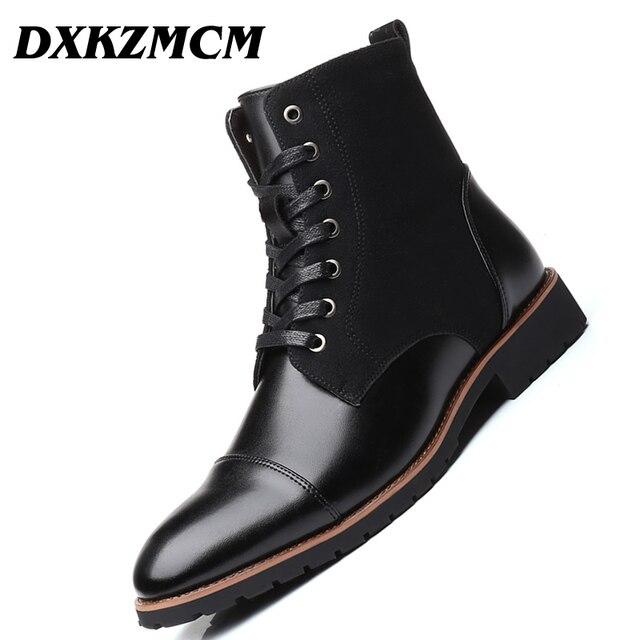 DXKZMCM Men Boots Da Mắt Cá Chân Khởi Động Cộng Với nhung Người Đàn Ông Giày Da Giày Ngoài Trời Người Đàn Ông Giản Dị Mùa Đông Ấm Áp Giày