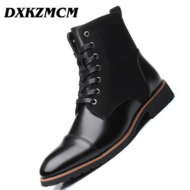 DXKZMCM Men Boots Leather Ankle Boots Plus velvet Men Leather Boots Shoes Outdoor Casual Men Winter Warm Shoes