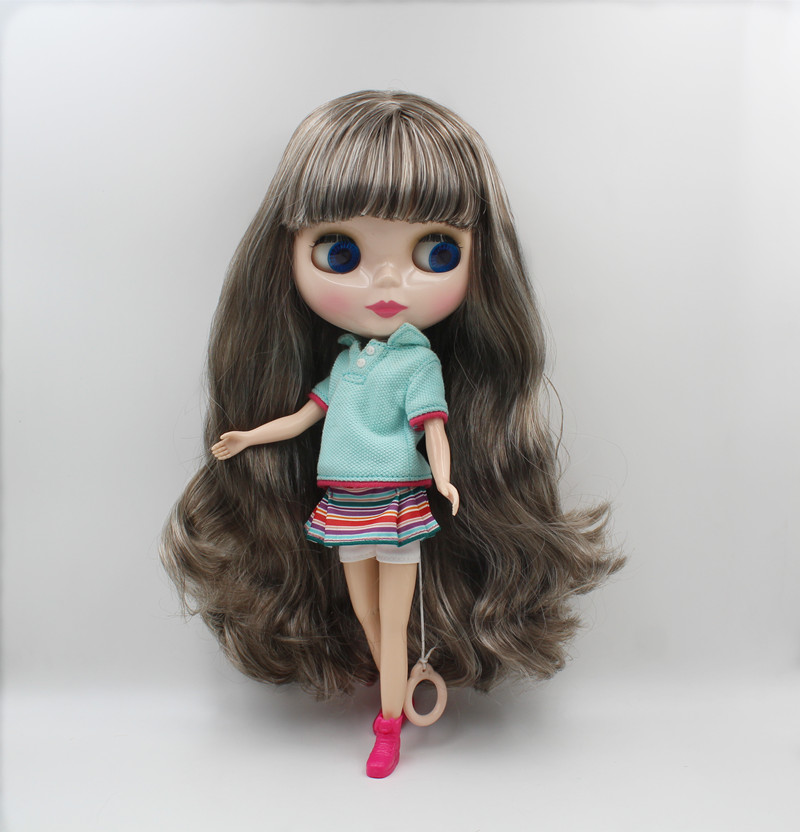 Blygirl,Blyth doll,Grey and white mixed curls, 7 - and 19-joint dolls, 1/6 dolls, nude dolls, can change the bangsBlygirl,Blyth doll,Grey and white mixed curls, 7 - and 19-joint dolls, 1/6 dolls, nude dolls, can change the bangs