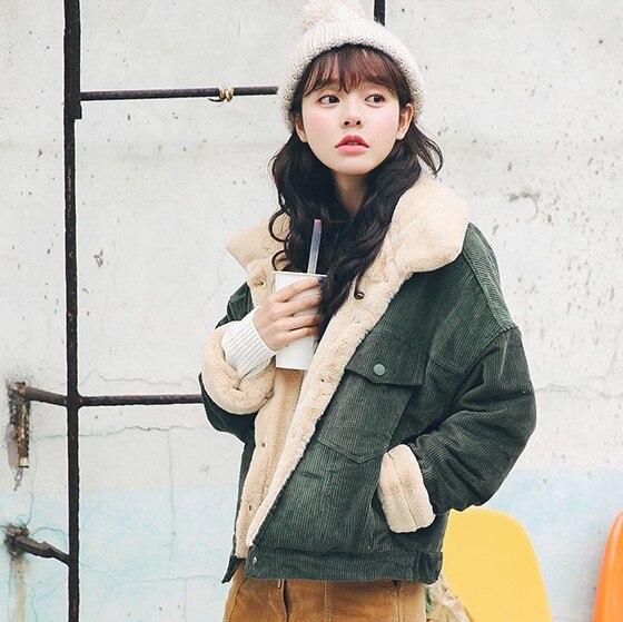 En Femmes Dames Vestes Agneaux Velours 2018 Laine 2 Nouveau Parka Lâche 1 Manteau Femme Épais Mode Survêtement Veste Côtelé Mignon D'hiver Chaud XwSOEcqA