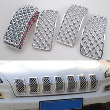 For Jeep Cherokee 2014-2016 Car Front Center Grill Mesh Grille Net Trims Insert Sticker Cover Decor Styling 7Pcs ABS Silver