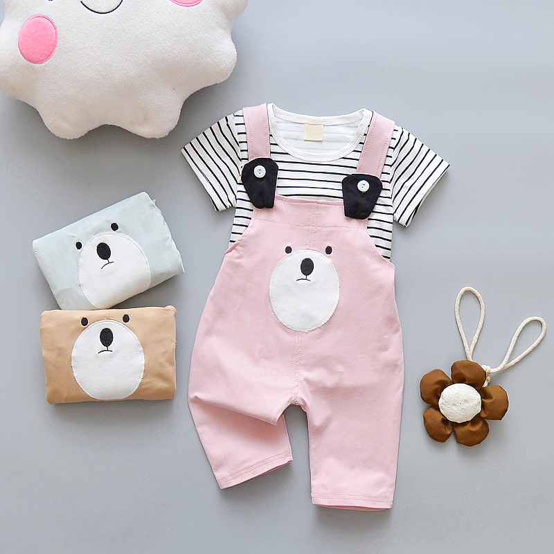 Children Clothing Sets Kids Summer Baby Cute Cartoon Sets Kids Short Sleeve T-shirt + Overall Suits Girls Boys Clothes Set