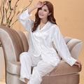 Branco e Rosa de Seda de Cetim Conjuntos de Pijama Para As Mulheres Sleepwear Pijamas Longos tops e Calças Pijamas Set S1