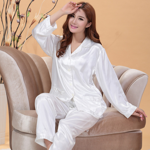 70f7a1efafc ONTFIHS White and Pink Silk Satin Pajama Sets For Women Sleepwear Long  Pajamas tops and Pants Pyjamas Set A-15