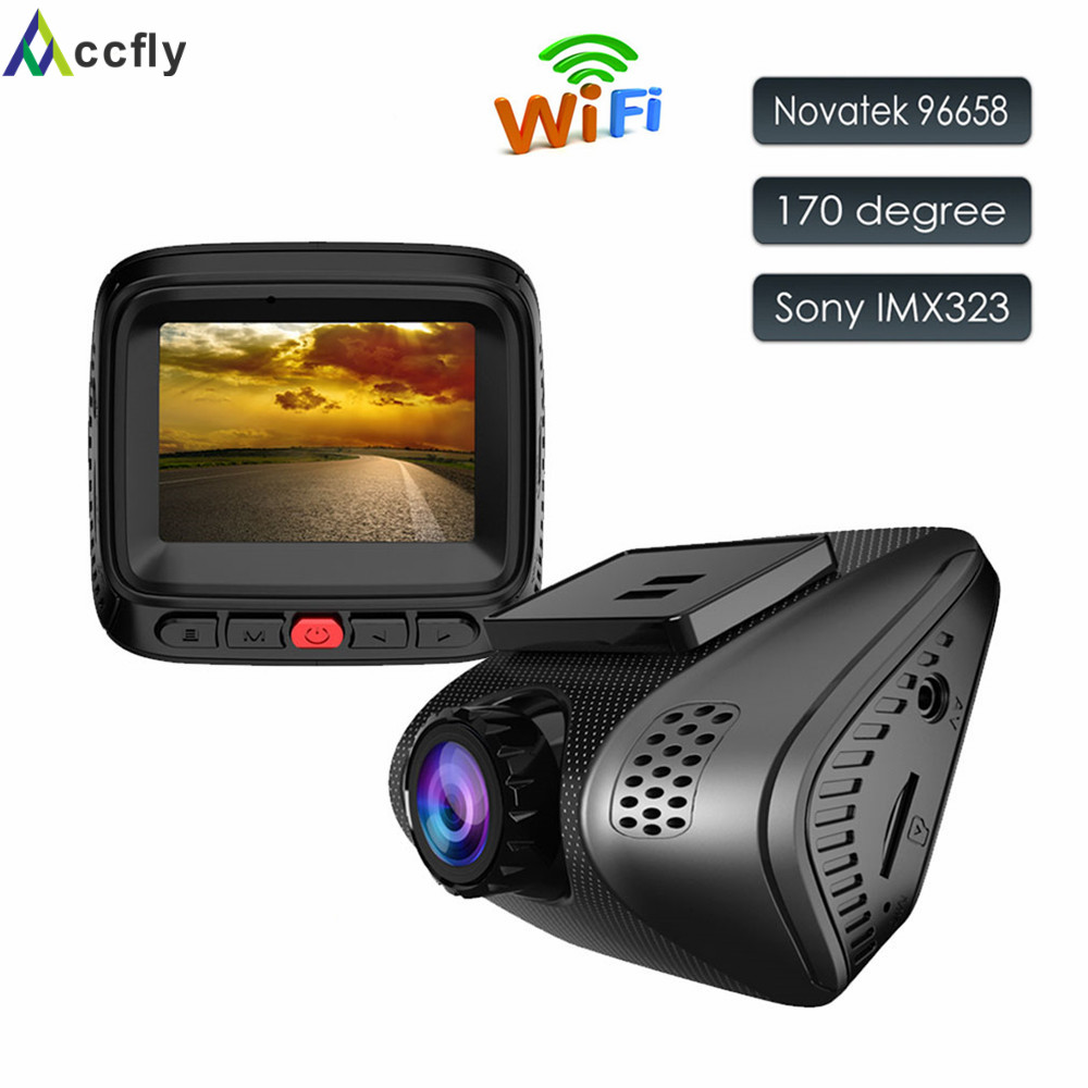 Accfly WIFI Car DVR DVRs Dash Cam Camera mini car registrator recorder Novatek 96658 Sony IMX323 Full HD 1080P170 degree car dvr camera video recorder wireless wifi app manipulation full hd 1080p novatek 96658 imx 322 dash cam registrator black box