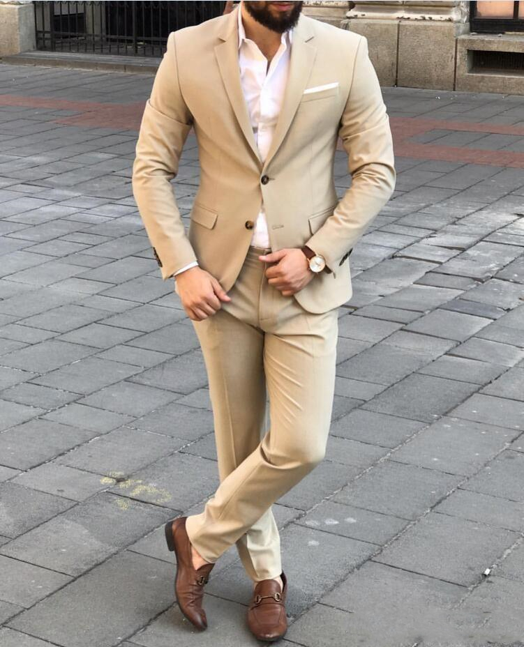 Brand New Beige Groom Tuxedos Notch Lapel Men Wedding Tuxedo Fashion Men Jacket Blazer Mens Dinner Suits Male (Jacket+Pants+T