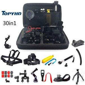Image 2 - 50in1 of 30in1 Hoofd Borst Mount Drijvende Monopod Accessoires Voor GoPro Hero 3 4 5 EKEN H9 H9R XIAOMI YI SJ4000 Camera