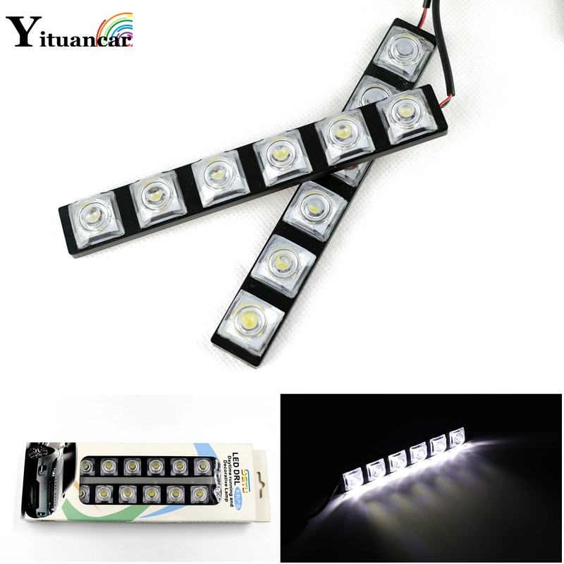 Yituancar 2Pcs/Set 12W 2X6 High Power E4 LED DC12V DRL Daytime Running Light Source Styling Auto Car Lamp Ip65 Waterproof White 2pcs set new design drl led daytime running lamp auto cob light 100% waterproof car accessories free shipping