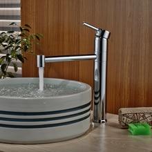 Single Handle Vertical Long Spout Basin Mixer Faucet Bathroom Sink Washing Taps Chrome Finish