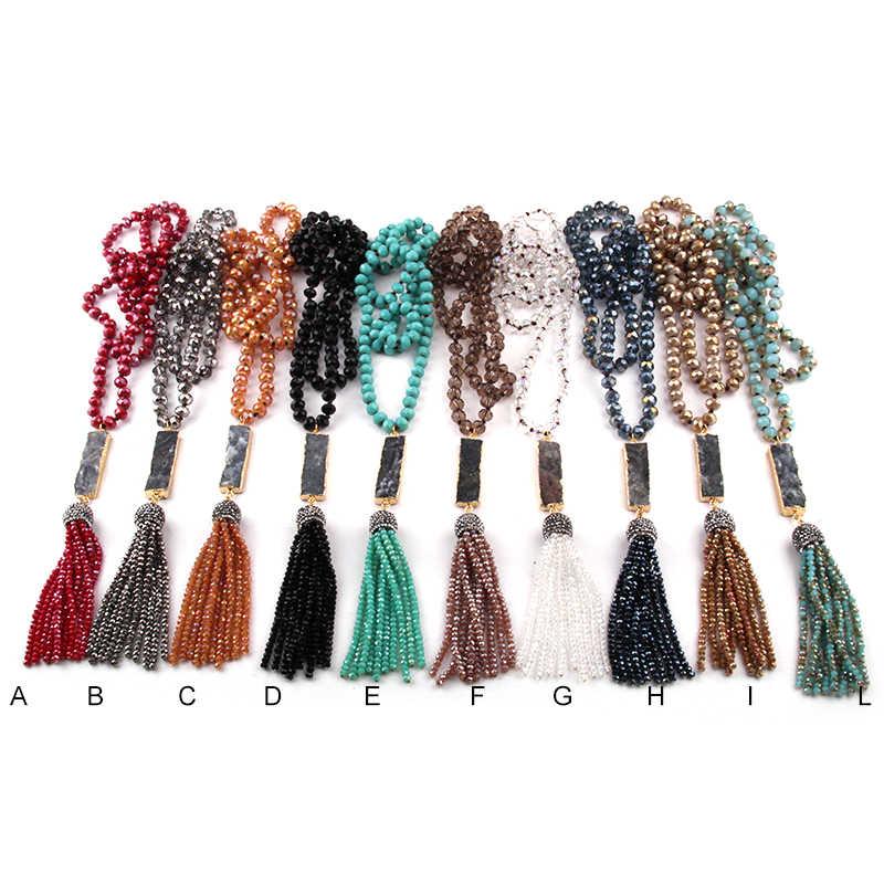 送料無料ファッションボヘミアン部族のジュエリーガラスロング結び目長方形 Druzy リンククリスタルタッセルネックレスエスニックネックレス