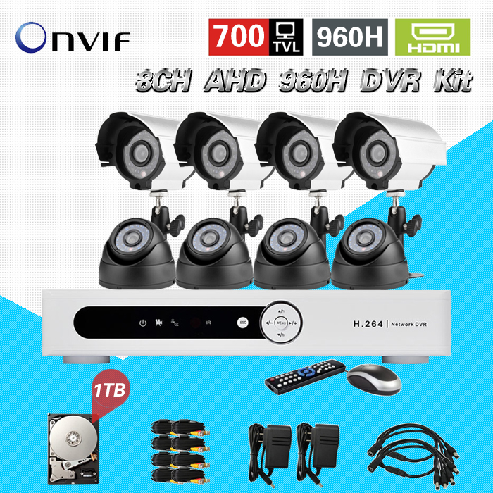 TEATE 8ch 960h AHD cctv video surveillance security system 8pcs 700tvl outdoor night vision camera dvr kit with 1tb HDD CK-199 zosi 1080p 8ch tvi dvr with 8x 1080p hd outdoor home security video surveillance camera system 2tb hard drive white