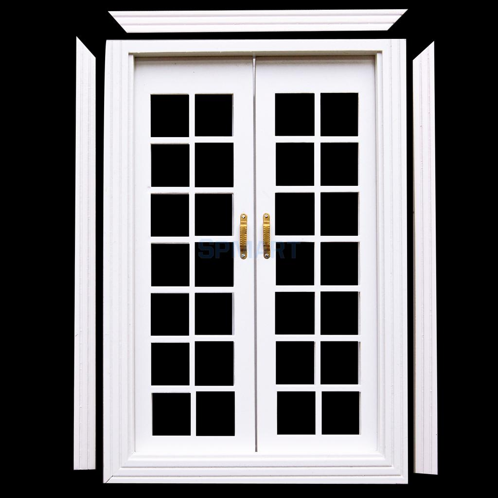 SPMART 1/12 Dollhouse Miniature Exterior Wooden French Door White-in ...