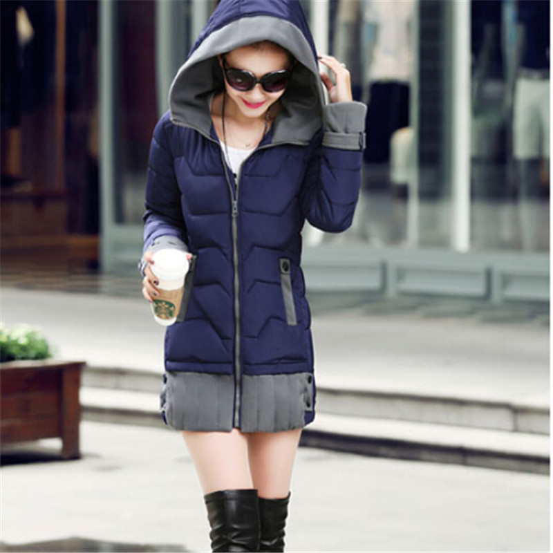 Plus Size Slim Women Coat Cotton-Padded Winter Jacket Women 2017 Medium-Long Parka Female Jacket Casual Hooded Ladies Coat C1709 winter cotton outerwear women super fur hooded wadded jacket female medium long padded coat thicken slim parka plus size