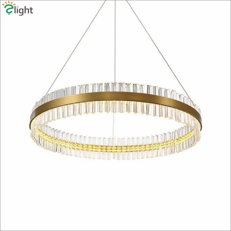 цены на Modern Luxury Lustre Led Pendant Light American Round Metal Luminarie Led Suspend Lamp  K9 Crystal Gold Pendant Lighting в интернет-магазинах
