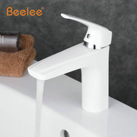 Beelee Free shipping White Vrane Bathroom White Faucet Basin Mixer Tap Sink Mixer Tap Water Tap For Bathroom White Faucet Tap