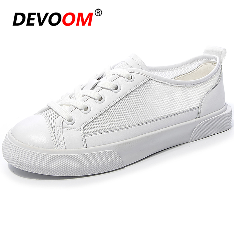 New Fashion White Lady Shoes Air Mesh Korean Style <font><b>Women</b></font> Lace-up <font><b>Women's</b></font> Shoes <font><b>Women</b></font> Flats <font><b>Women</b></font> Sneakers 2019 Casual Flat Shoes image