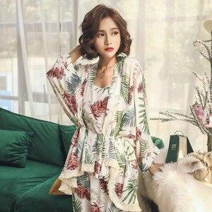 Image 5 - 새로운 여성 잠옷 세트 여성 3 조각 세트 수면 라운지 코튼 섹시한 봄 가을 pijama nightwear 꽃 플러스 사이즈 tracksuit