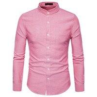 Pink Shirt Men 2017 Brand New Autumn Men Shirt Long Sleeve Slim Fit Cotton Mens Dress