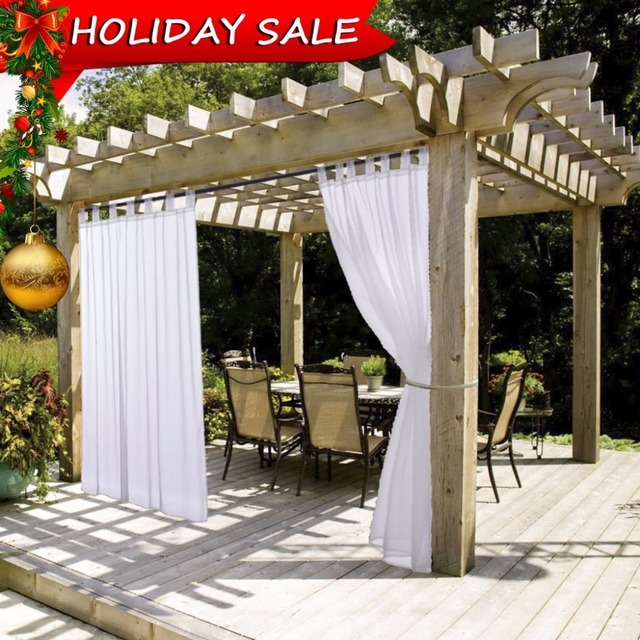 nicetown summer white indoor outdoor curtain panels elegant tab top waterproof curtains for patio with - Outdoor Curtains For Patio