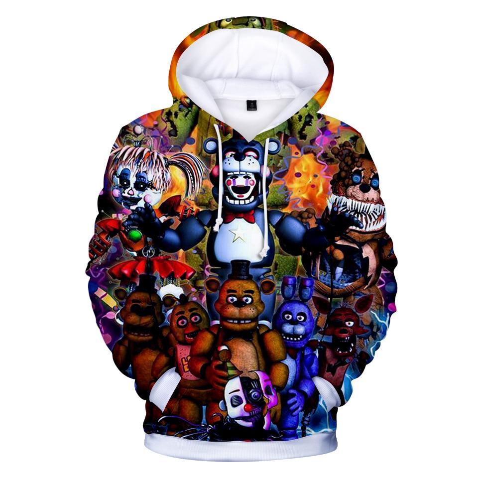 3D Print Five Nights At Freddys Hoodie Sweatshirt For Boys School Hoodies For Boys FNAF Costume For Teens Sport Kids Clothes