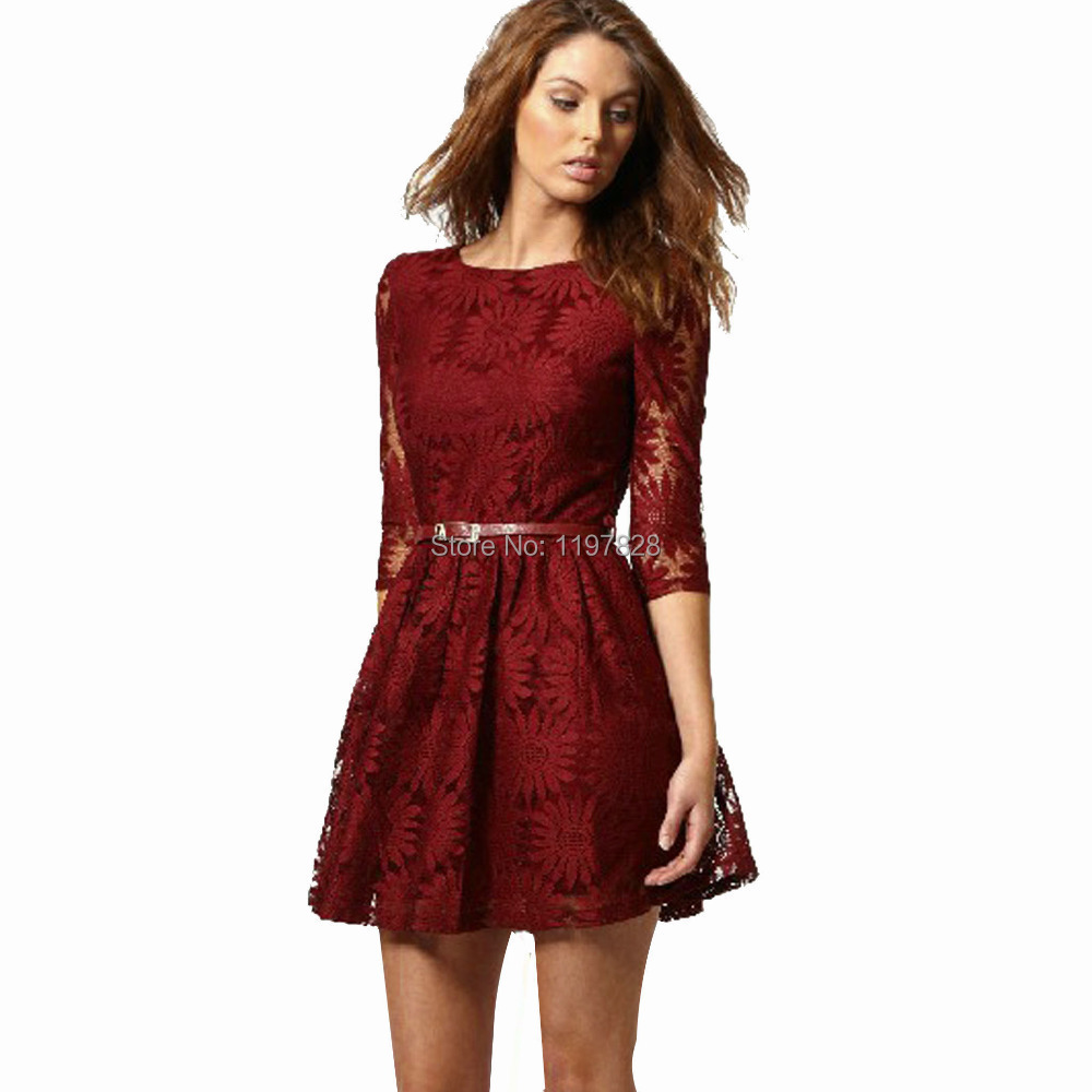 Casual Lace Dresses With Sleeves - Missy Dress
