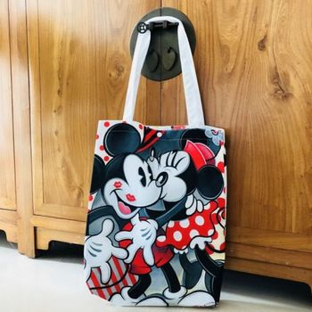 mickey minnie hug kiss shoulder bag shopper bags lunch bag storage handbag zip