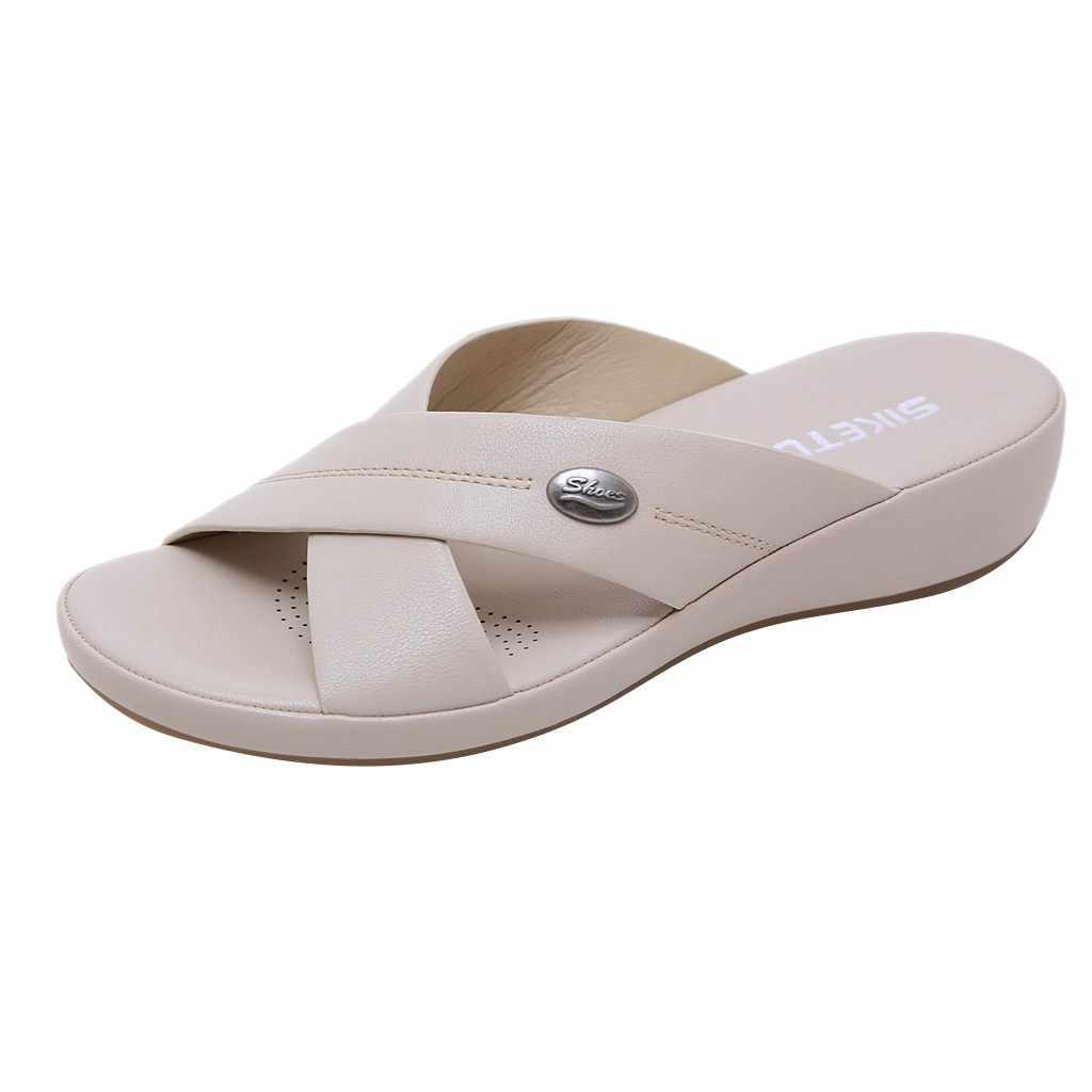 SAGACE 2019 ใหม่รองเท้าแตะฤดูร้อนรองเท้าผู้หญิงรองเท้าแฟชั่นโบฮีเมียชายหาดแบนสบายๆแพลตฟอร์มแบนสุภาพสตรี Breathable June7