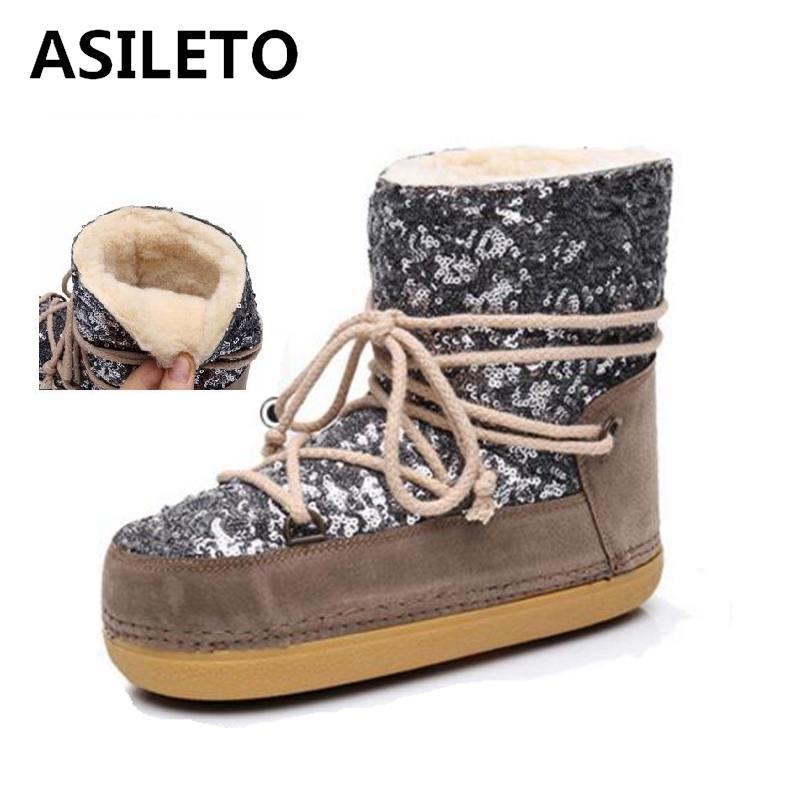 ASILETO Women Space Boots Plus cashmere Warm sequins Women Ankle Boots Casual Snow Boots Shoes Safety