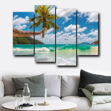 Laeacco Abstract Tropical Wall Art Palm Tree Blue Sky Posters and Prints Canvas Painting Living Room Bedroom Home Decor