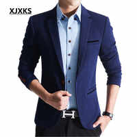 Xjxks男性ブレザー春2018男性のスリムスーツジョブ男性結婚式のスーツ大サイズm-5xlスーツジャケットクールファッションブレザーus349