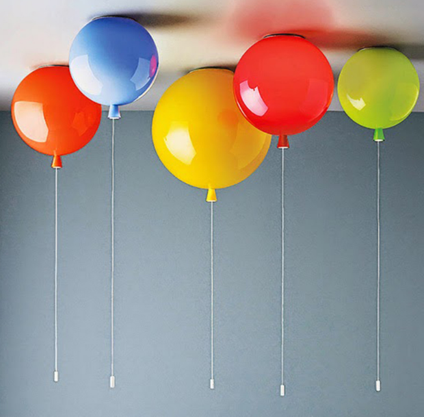 Modern Minimalist Cartoon Childrens Room LED Ceiling Light Warm Bedroom Creative Ceiling Lamp Cute Balloon 110 ~ 220v Lamps E27