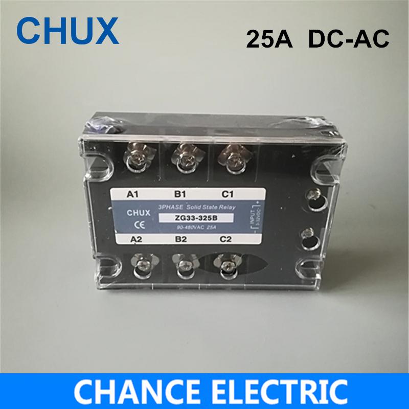 Three Phases Solid State Relay SSR 25A DC-AC (ZG33-25DA) SSR 25DA Solid State Relay 25A DC-AC free shipping mager 10pcs lot ssr mgr 1 d4825 25a dc ac us single phase solid state relay 220v ssr dc control ac dc ac