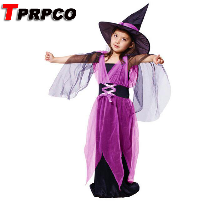 TPRPCO Witch costume Kids Halloween costumes children suit gauze female witch clothes N128