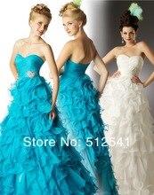 Open back Pleat Prom Dresses Brand A-line Sweetheart Organza Rhinestone Ruffle Free Shipping yk-8K0p10