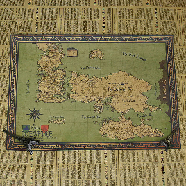 Online Shop Nostalgia Game Of Thrones Retro World Map Kraft Paper - Retro world map poster