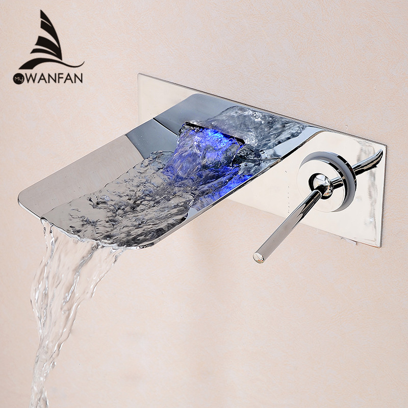 Basin Faucets Wall Mounted Chrome Finish Bathroom Faucet Spout Waterfall Basin Mixer Tap Single Handle Sink Taps LH-16812 contemporary chrome finish single handle bathroom sink faucet silver