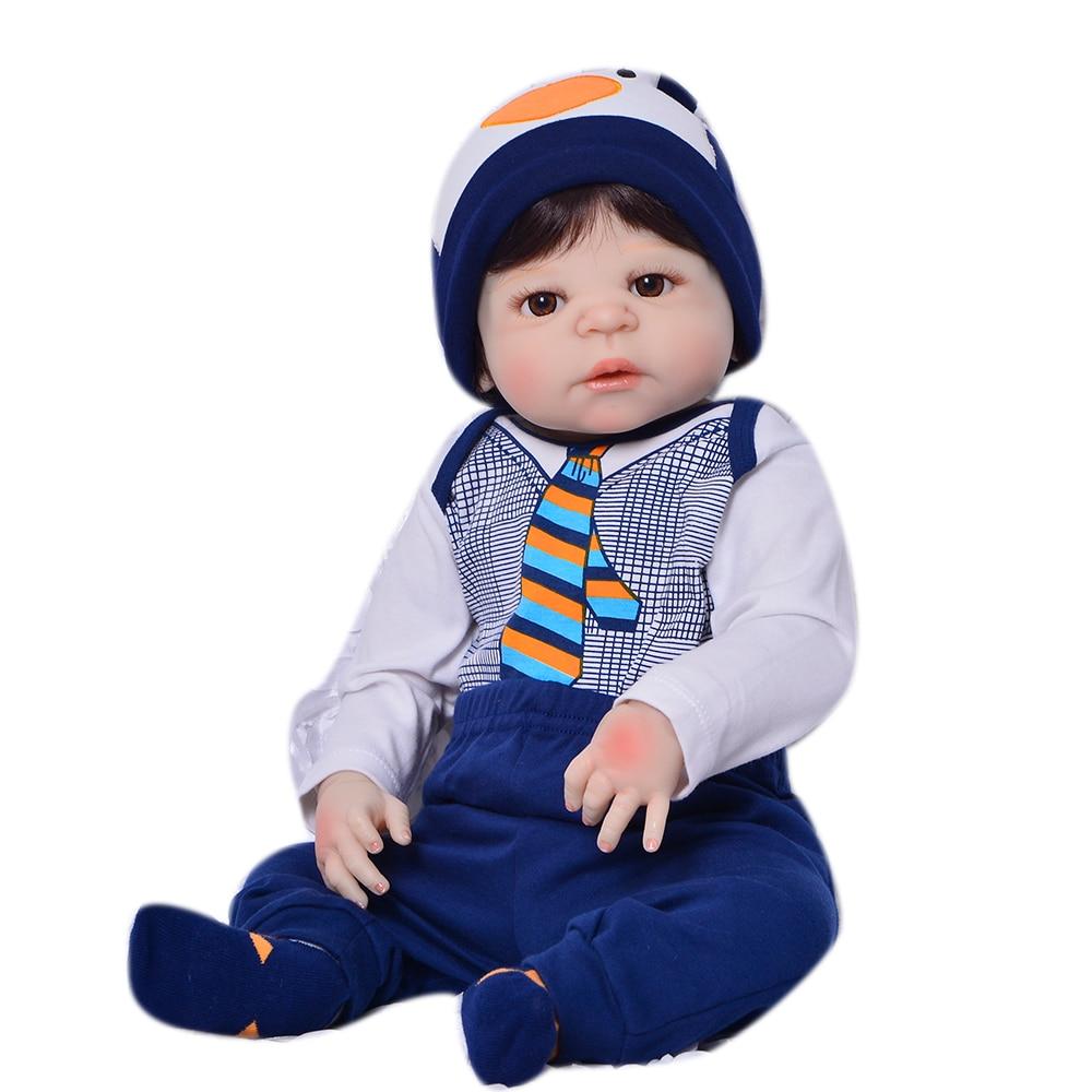23 Full тела силиконовые возрождается для маленьких мальчиков куклы каштановые волосы парик магнитного рот куклы для детей подарок Bebe жив ... - 5