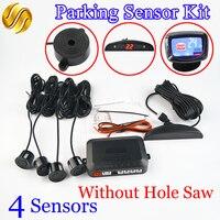 Car LED Parking Sensor Kit No Hole Saw Drill 4 Sensors 22mm Backlight Reverse Backup Monitor