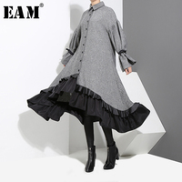 [EAM] 2019 New Spring Lapel Long Sleeve Bandage Solid Color Gray Big Hem Irregular Loose Dress Women Fashion Tide JD717